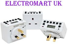 3 X PLUG IN DIGITAL LCD TIME TIMER SWITCH 24 HOUR 7 DAY MAINS 13A