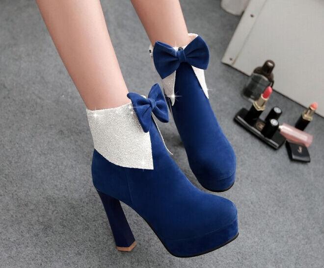 Stiefel Winter Blau Schuhe Absatz 10.5 cm Leder Kunststoff 8792