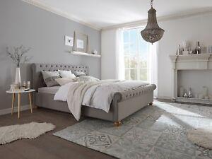 Bett 180x200 Grau Komforthohe Ehebett Polsterbett Schlafzimmer Neu