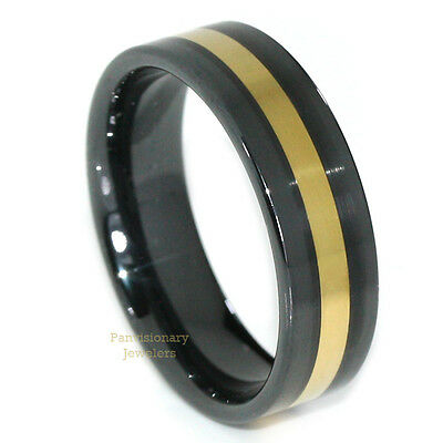 8mm Ceramic Comfort Black 18K Gold IP Inlay Ring Mens Womens Sizes 7-15 Dispatch