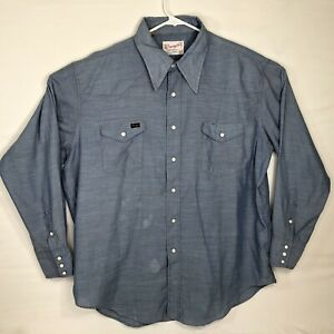 Vtg-Wrangler-18-35-Sanforized-USA-Blue-Denim-Chambray-Pearl-Snap-Western-Shirt