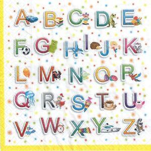 Details about 4 Single paper decoupage napkins. Colorful letters, alphabet,  kids design,129