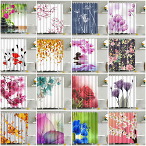 Shower-Curtain-With-12-Hooks-Stylish-Flower-Tree-Fabric-Waterproof-Bathroom-NEW