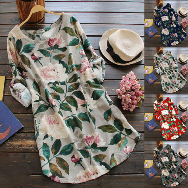 Summer Women Floral Tunic Tops Blouse Ladies Roll Sleeve T-Shirt Dress Plus Size