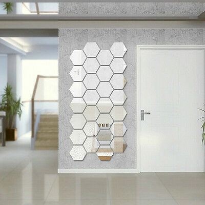 Modern 12pcs 3D Mirror Geometric Hexagon Acrylic Wall Sticker Decor Art DIY