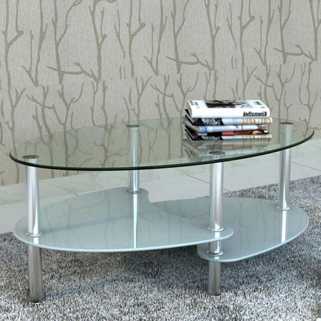 3 Layers Modern Tempered White Glass Oval Coffee Table With Shelves Chrome Legs