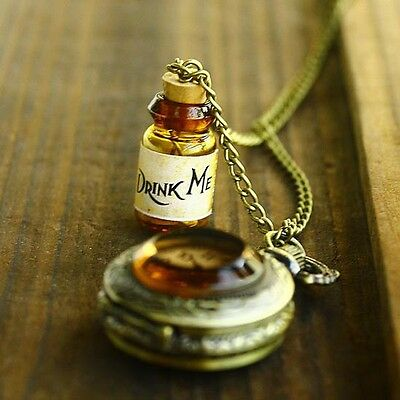Fantastic Alice In Wonderland DRINK ME Pocket WATCH LONG Necklace NEW HOT SALE