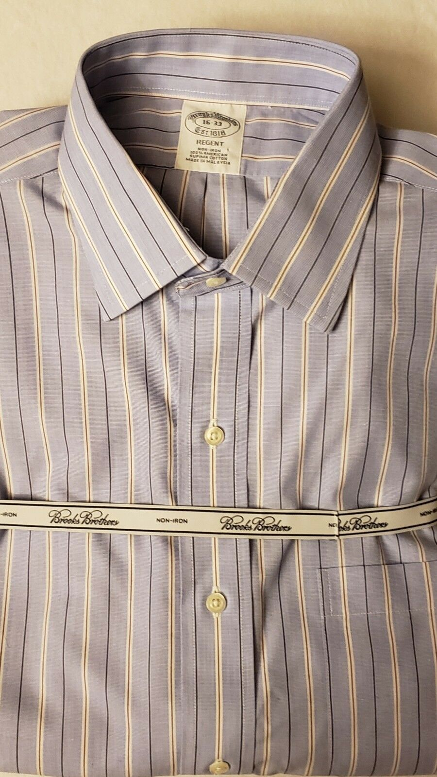 NWT Brooks Bredhers Regent Mens Lt bluee Stripe Supima Dress Shirt 15 1 2 - 34