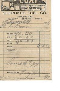 AR-015 - 1935 Cherokee Fuel Company, Elizabethton, TN Receipt Vintage
