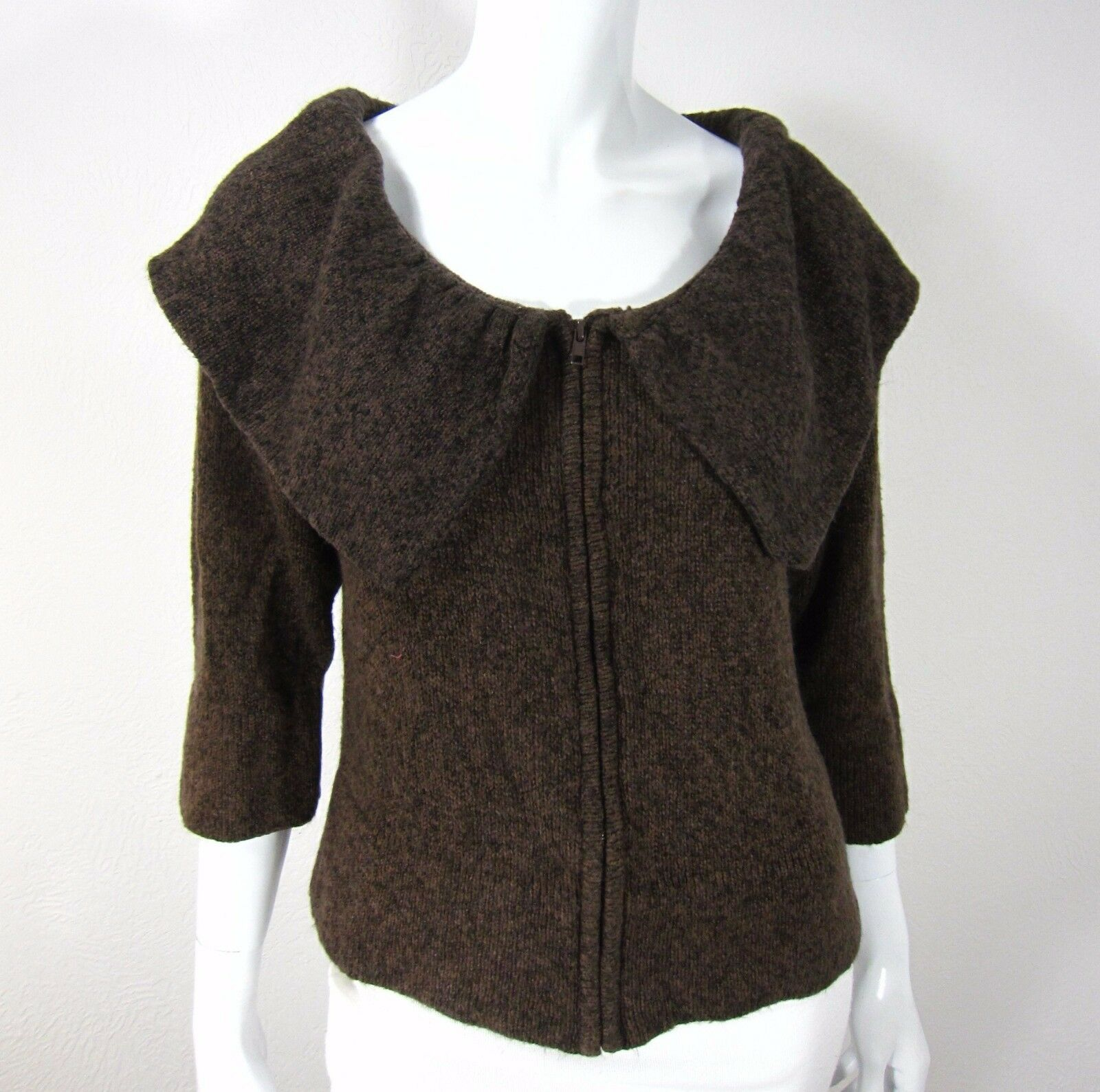 FEVER Short Sleeve Full Zip Cardigan Sweater Size M Medium Solid Brown Collared
