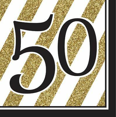 16 x Black /& Gold 50 Napkins 33cm Adults 50th Birthday Party Tableware Supplies