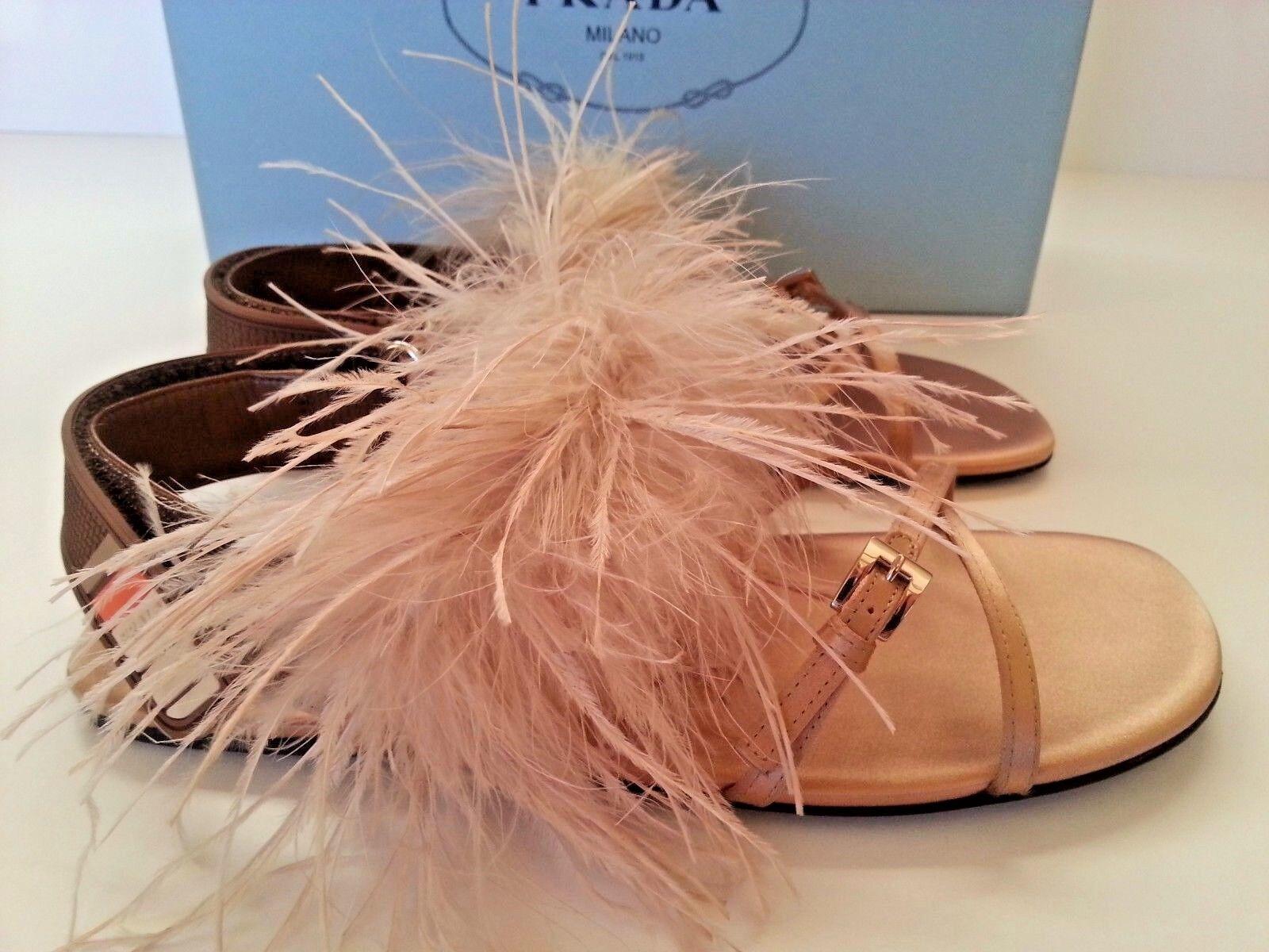 New PRADA Feather Embellished Crisscross Flat Satin Slingback Sandals 35 run BIG