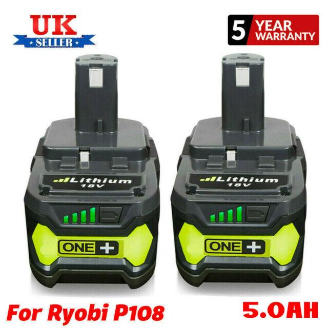 2xFor Ryobi ONE+ 5.0AH RB18L50 Li-Ion Tool Battery 18V P104 P108 RB18L40 RB18L13