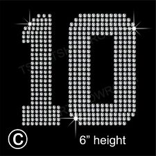 """""""10"""" or any 'two Jersey' Numbers Rhinestone Transfer Hotfix Iron on + Free Gift"""