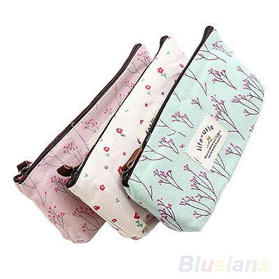 Vogue Flower Floral Pencil Pen Case Cosmetic Makeup Tool Bag Storage Pouch Purse
