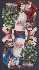 2-uralte-gepraegte-XXL-Weihnachtsmaenner-Oblaten-L-amp-B-31591-DIE-CUT-SCRAPS