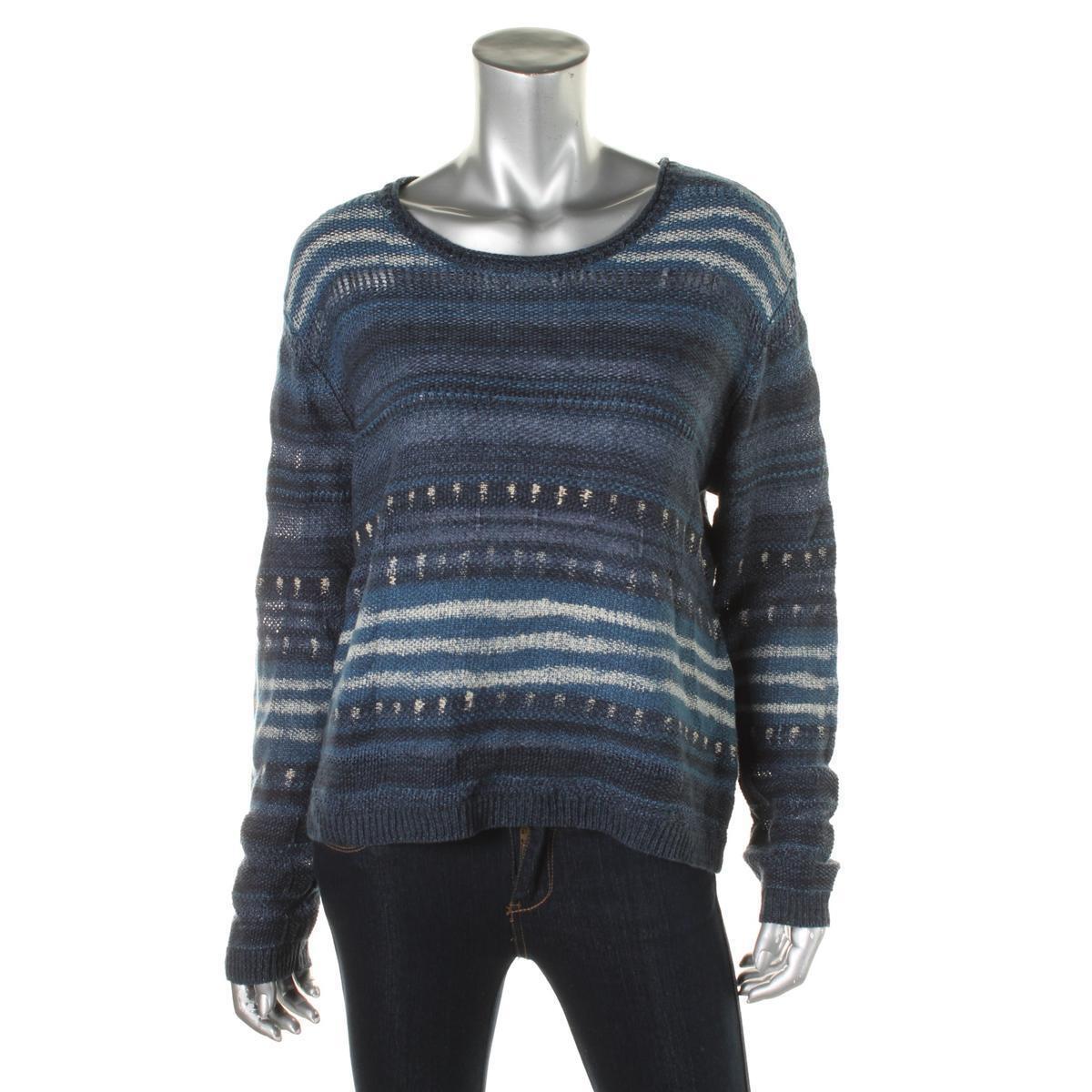 NEW  198 Lauren Ralph Lauren bluee Linen Cotton Casual Boho Sweater Women XL NWOT