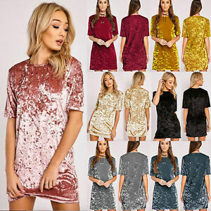 New-Womens-Ladies-Crushed-Velvet-Casual-Tops-T-Shirt-Loose-Long-Top-Blouse-Dress