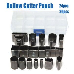 24-39-PZ-stile-Foro-Cutter-Hollow-Punch-Set-per-pelle-a-mano-Artigianato-fai-da-te-Strumento