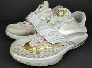 0c0f7eeae3efef Nike KD 7 Youth Size 4.5Y Aunt Pearl GS White Gold Pink Pure ...