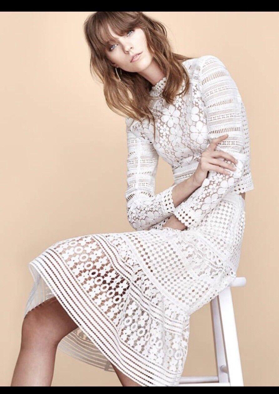 NWT Diane von Furstenberg Tiana Lace Midi Skirt 8 White