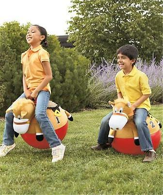 SET OF 2 GIDDY UP REALISTICALLY DETAILED RACING HORSE HOPPERS BOUNCERS - FUN!!
