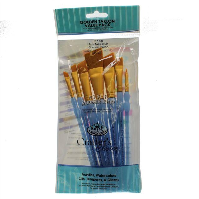 RCC-304 Crafter choice paint brush Golden Taklon value pack 7pc Angular Set