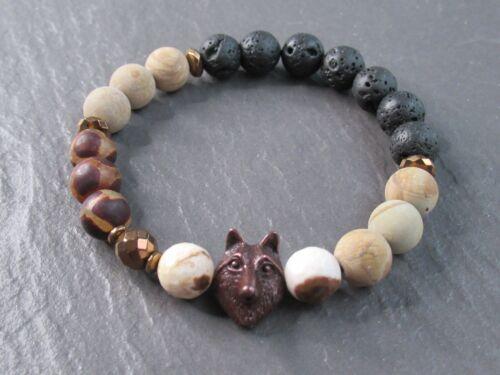 Copper Wolf Head Stone Bracelet Mens Womens Gemstone Boho Gift Jewelry UK