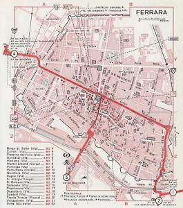 Cartina Di Malta Da Stampare.C2671 Pianta Della Citta Di Ferrara Mappa Geografica D Epoca 1967 Old Map Ebay