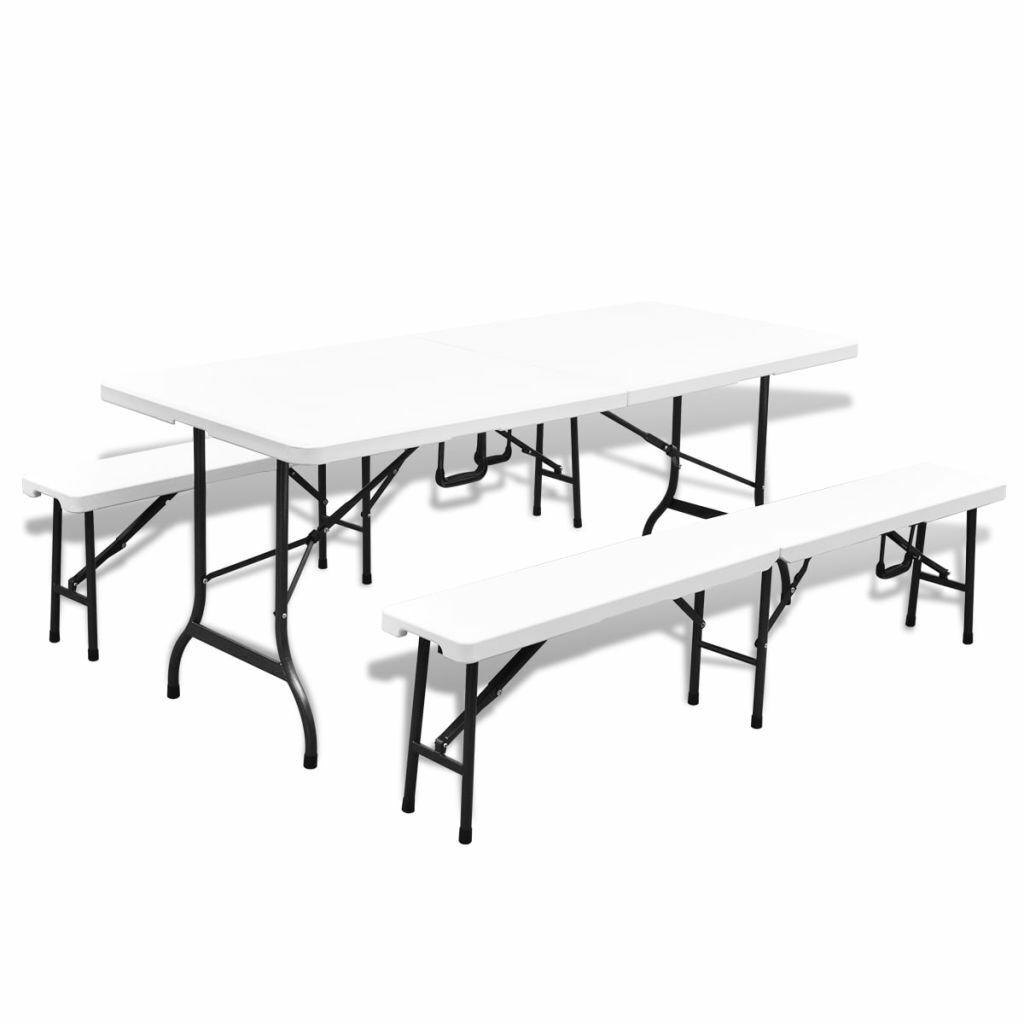 VidaXL Gartentisch mit 2 Bänken Klappbare HDPE und Stahl 180 cm Outdoor