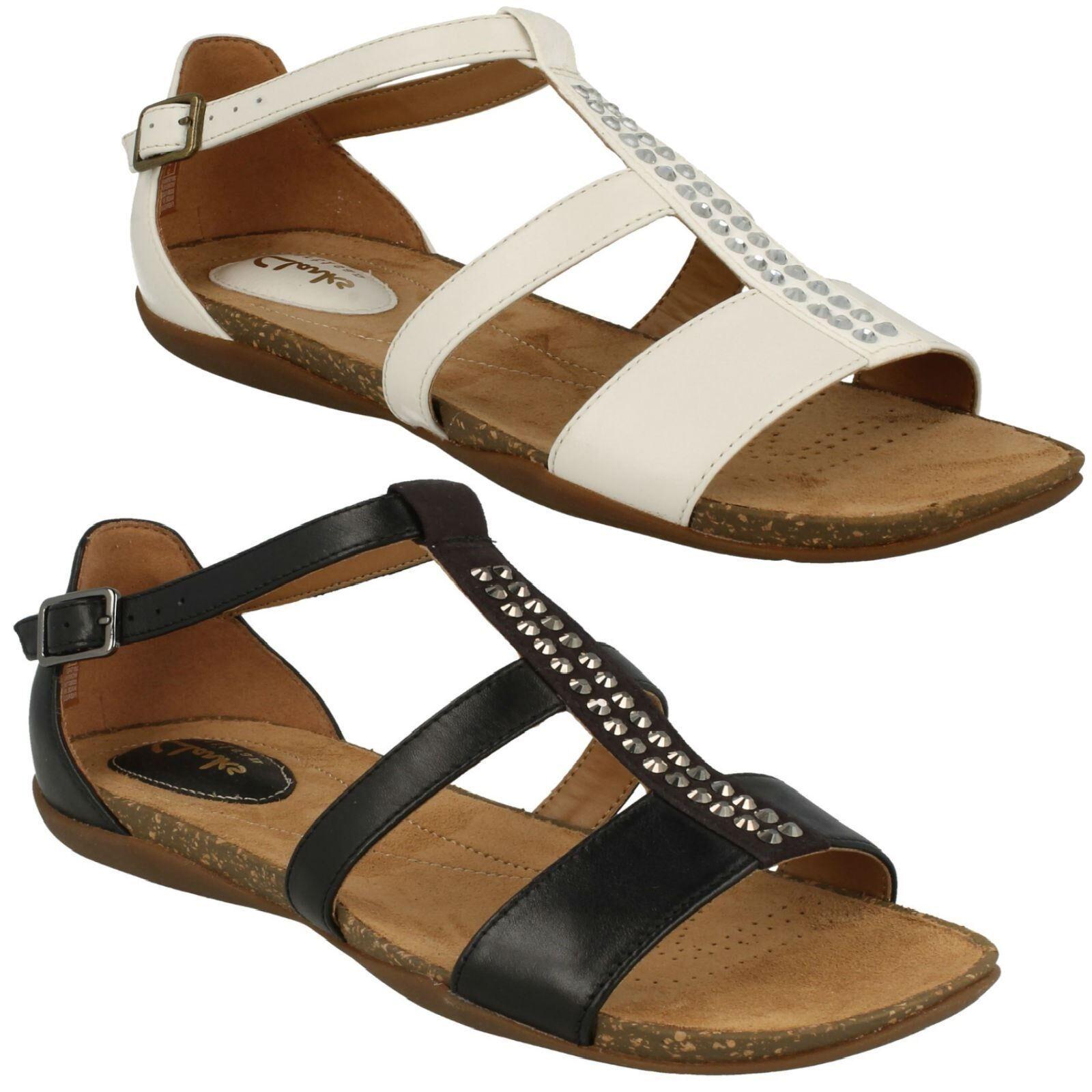 AUTUMN FRESH LADIES CLARKS LEATHER DIAMANTE DETAIL BUCKLE CASUAL SANDALS chaussures