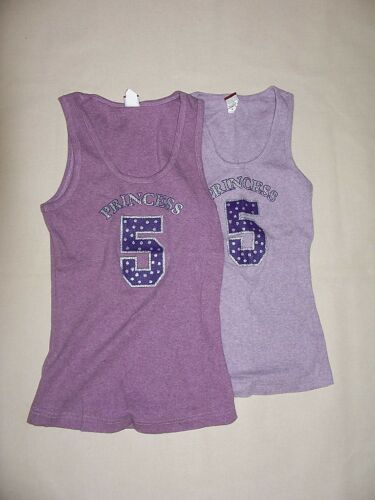 """NEW LIVIN RIBBED TANK TOP /"""" PRINCESS /"""" #5 PURPLE  SILVER GLITTER SIZE MED or XL"""