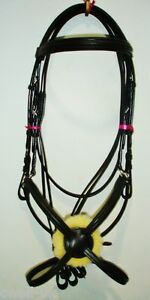 New-Deluxe-Mexican-Grackle-Figure-of-8-Noseband-Bridle-free-Reins-Black-FULL
