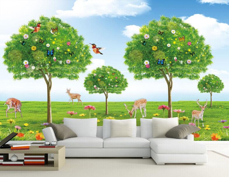3D Tree Deers Birds 7 Wall Paper Murals Wall Print Wall Wallpaper Mural AU Lemon