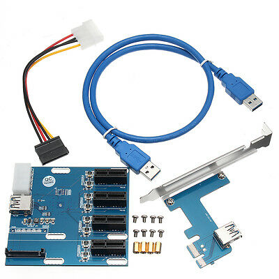 PCI-E 1X USB 3.0 Expansion 1 to 4 Port Switch Multiplier Hub Riser Card 1000Mbps