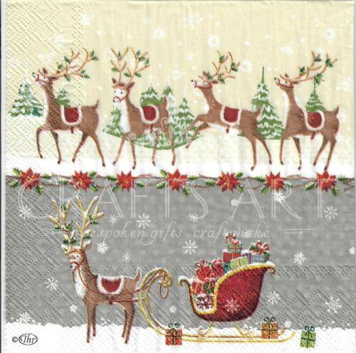 Noël 4 Simple papier DECOUPIS serviettes hiver Santa Sleigh avec cadeaux-X94