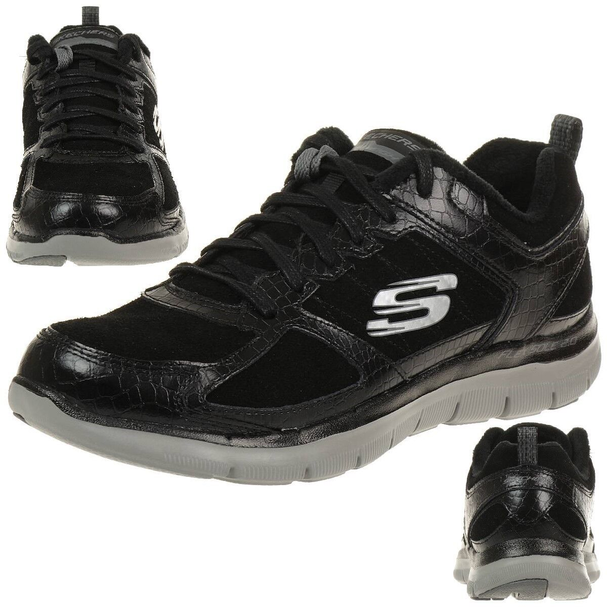 Skechers Flex Appeal 2.0 Suave Shock mujer Zapatos para para para fitness Skech Negro Lite  wholesape barato
