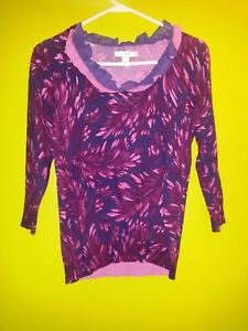 636cd977d4baf Liz Claiborne New York Purple Lace Collar Floral Shirt Top Small NWT ...