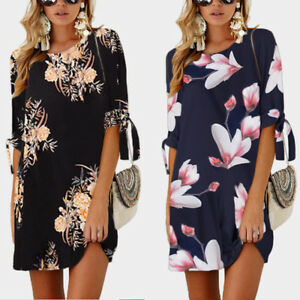 AU-Women-039-s-Floral-Print-Dress-Summer-Beach-Cocktail-Evening-Party-Shift-Dresses
