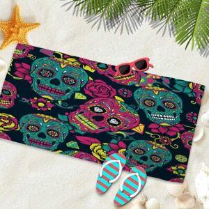 Gothic-skull-shower-towel-floral-polychromatic-picnic-microfiber-decor-beach-mat
