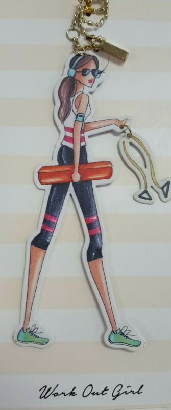 """Metal Charm -""""workout Girl"""". Hang From Purse, Car Mirror, Wine Bottle, Etc. Nwt"""
