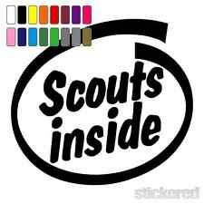 SCOUTS INSIDE FUNNY NOVELTY CAR / WINDOW STICKER / DECAL 115mm x 105mm
