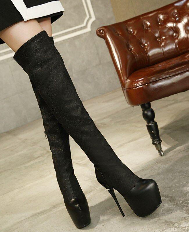 stivali stivaletti nero ginocchio coscia tacco 16 cm stiletto simil pelle 9420