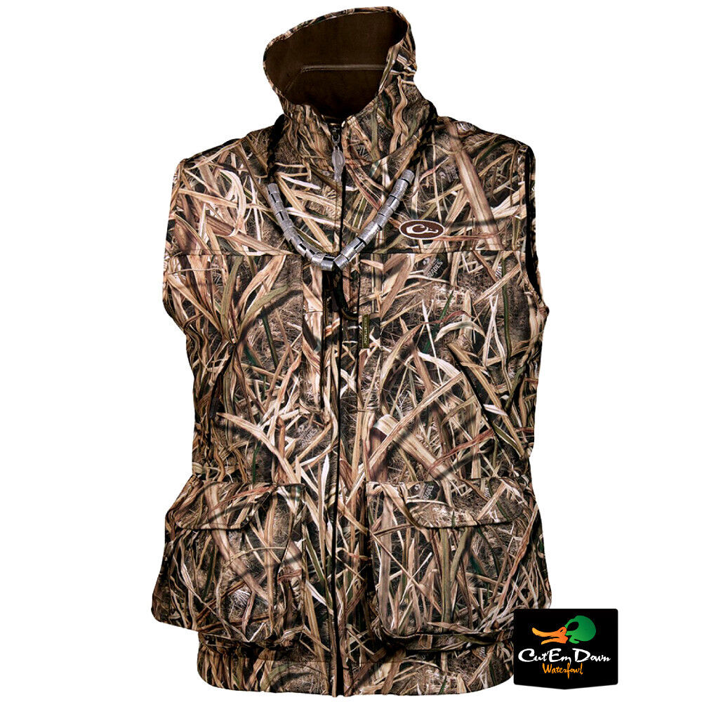 DRAKE WATERFOWL MST FLEECE LINED REFUGE HS VEST SHADOW GRASS BLADES CAMO SMALL