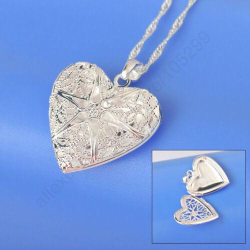 Apertura de Plata Plateado Amor Corazón Colgante y Collar .925 Plata de ley 18 in approx. 45.72 cm