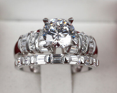 Quality Ring set 3ct Created Diamond 18K White Gold Plated Set Ring Size L,N,P