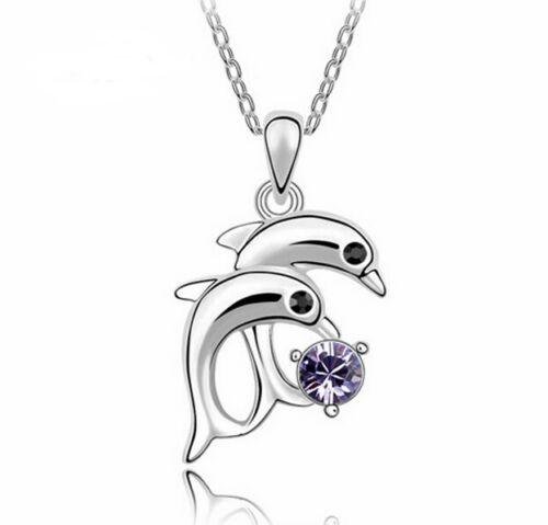 Collar cadena Dolphin plata PL y con sello con circonita lila delfin