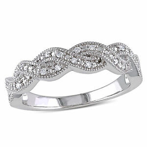 Amour Sterling Silver 1/10 Ct TDW Diamond Infinity Band Ring G-H I2-I3