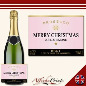 L85-Personalised-Prosecco-Rose-Pink-Christmas-Brut-Bottle-Label-Perfect-Gift