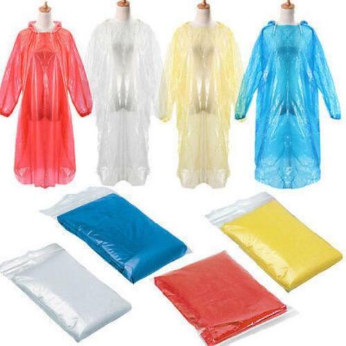 10PCS Disposable Adult Emergency Waterproof Rain Coat Poncho Hiking Camping Hood